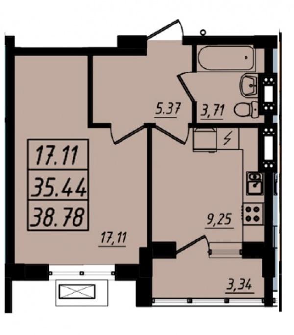Планировки однокомнатных квартир 38.65 м^2